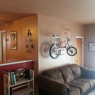 living room with bike